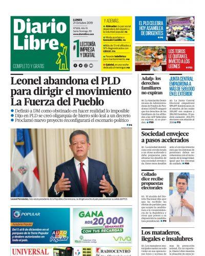 Portada Periódico Diario Libre, Lunes 21 de Octubre, 2019