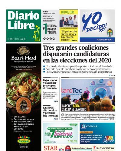 Portada Periódico Diario Libre, Lunes 28 de Octubre, 2019