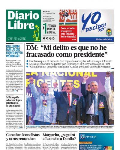 Portada Periódico Diario Libre, Martes 22 de Octubre, 2019