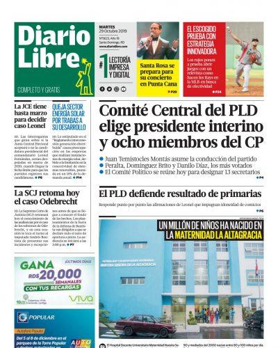 Portada Periódico Diario Libre, Martes 29 de Octubre, 2019