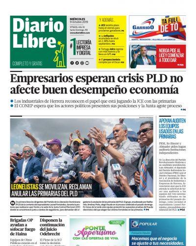 Portada Periódico Diario Libre, Miércoles 07 de Octubre, 2019