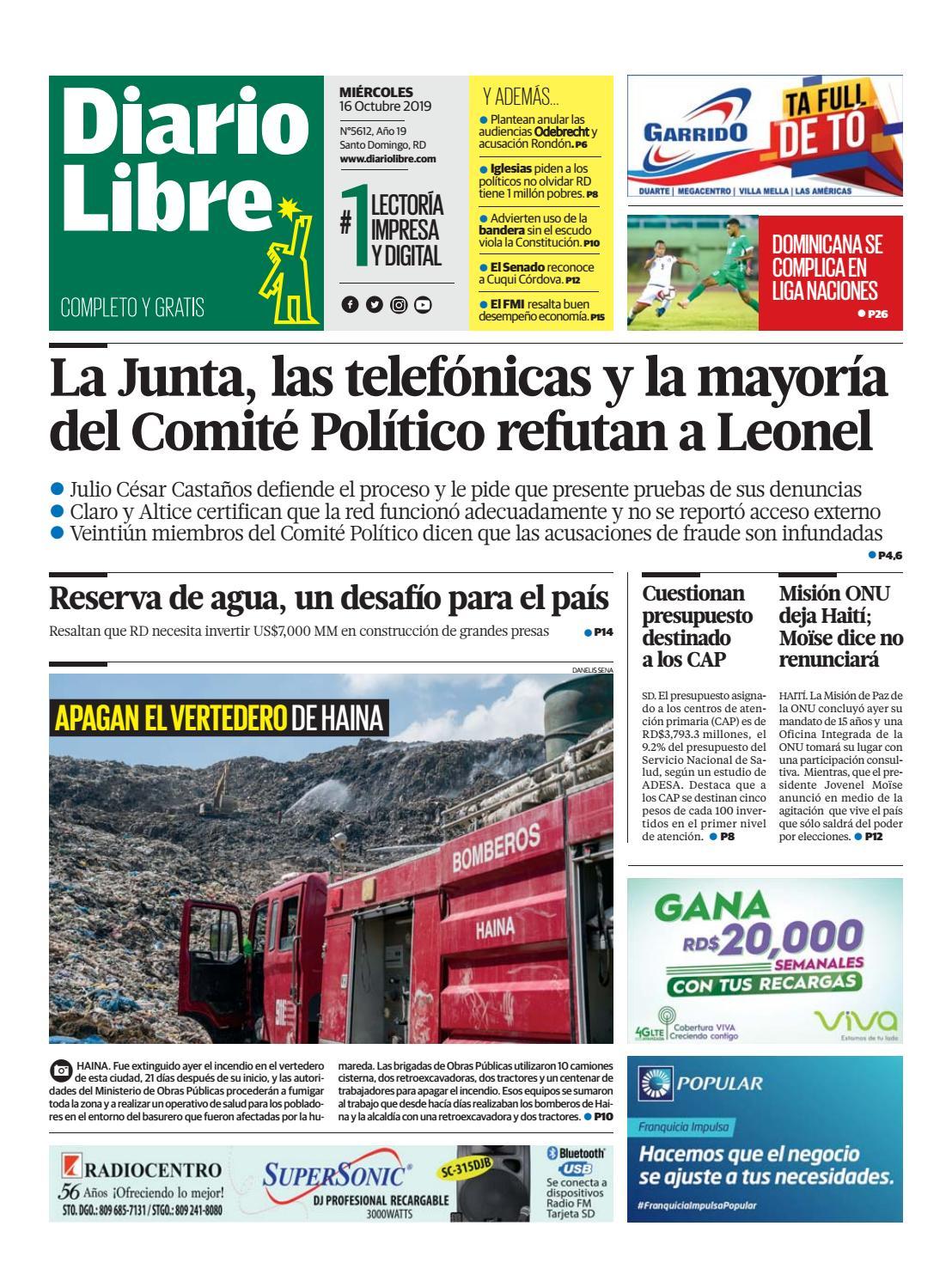 Portada Periódico Diario Libre, Miércoles 16 de Octubre, 2019