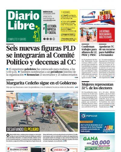 Portada Periódico Diario Libre, Miércoles 23 de Octubre, 2019