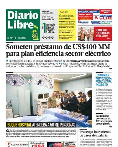 Portada Periódico Diario Libre, Sábado 19 de Octubre, 2019