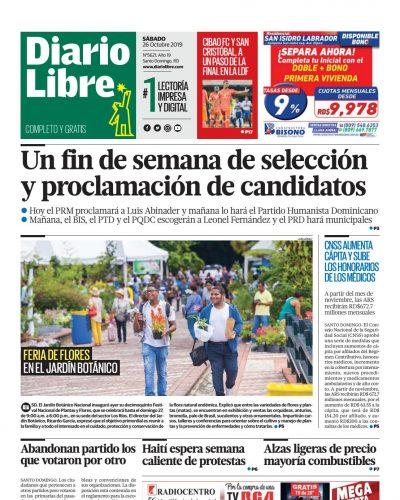 Portada Periódico Diario Libre, Sábado 26 de Octubre, 2019