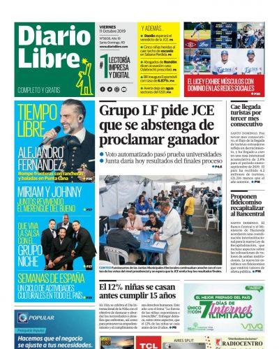 Portada Periódico Diario Libre, Viernes 09 de Octubre, 2019