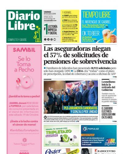 Portada Periódico Diario Libre, Viernes 18 de Octubre, 2019