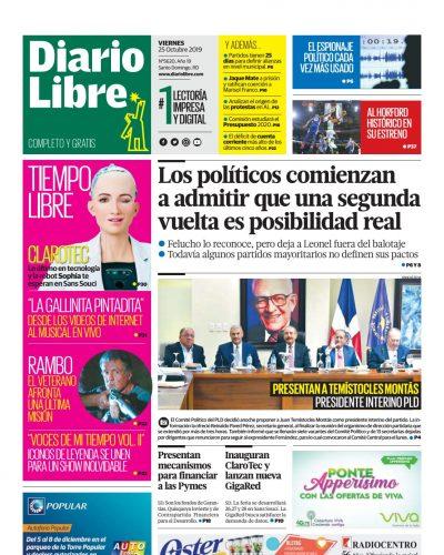 Portada Periódico Diario Libre, Viernes 25 de Octubre, 2019