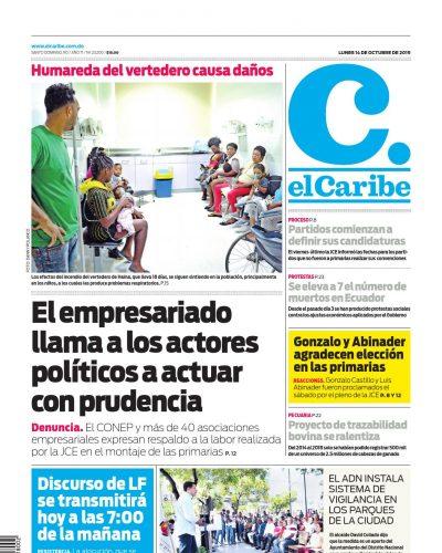 Portada Periódico El Caribe, Domingo 13 de Octubre, 2019