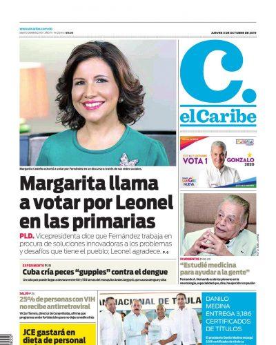 Portada Periódico El Caribe, Jueves 03 de Octubre, 2019