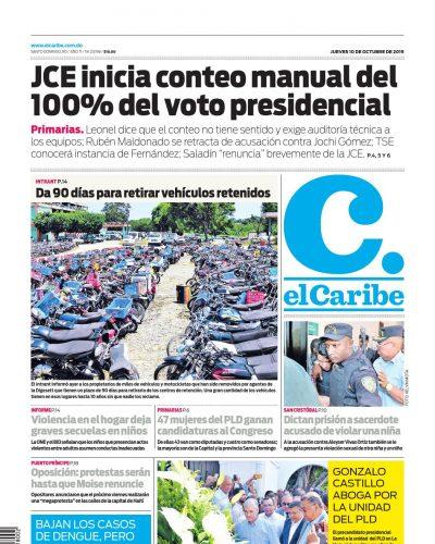 Portada Periódico El Caribe, Jueves 08 de Octubre, 2019