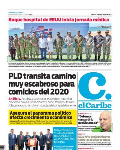 Portada Periódico El Caribe, Jueves 17 de Octubre, 2019