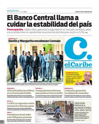 Portada Periódico El Caribe, Jueves 24 de Octubre, 2019