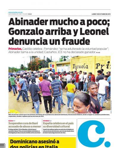 Portada Periódico El Caribe, Lunes 05 de Octubre, 2019