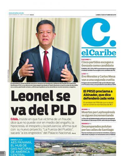Portada Periódico El Caribe, Lunes 21 de Octubre, 2019