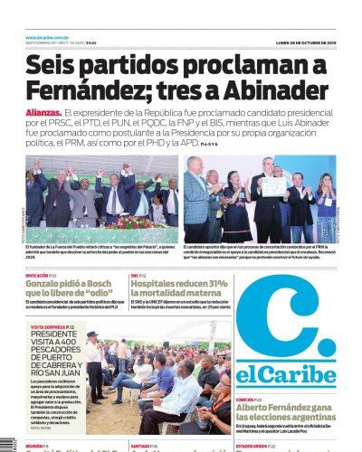 Portada Periódico El Caribe, Lunes 28 de Octubre, 2019