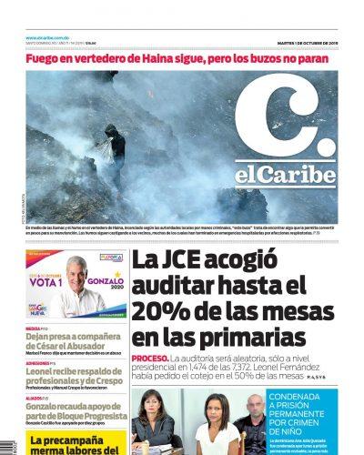 Portada Periódico El Caribe, Martes 01 de Octubre, 2019