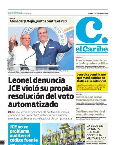 Portada Periódico El Caribe, Martes 06 de Octubre, 2019