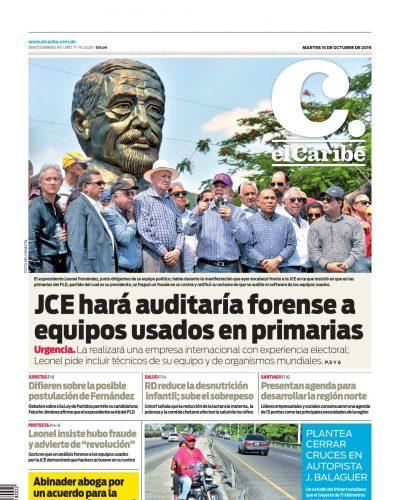 Portada Periódico El Caribe, Martes 15 de Octubre, 2019