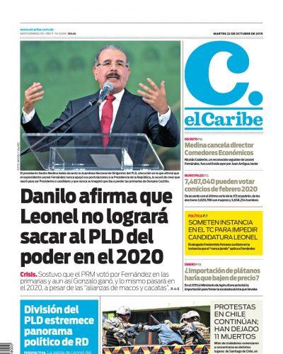 Portada Periódico El Caribe, Martes 22 de Octubre, 2019