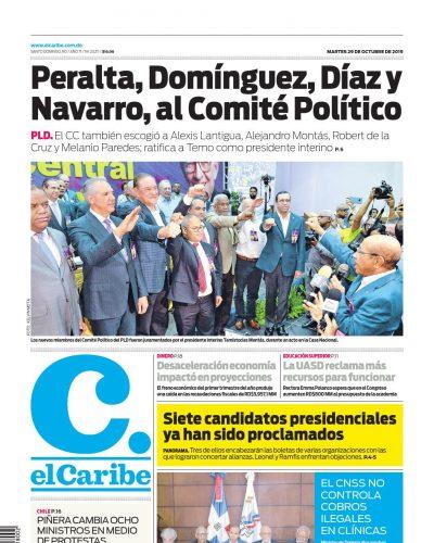 Portada Periódico El Caribe, Martes 29 de Octubre, 2019