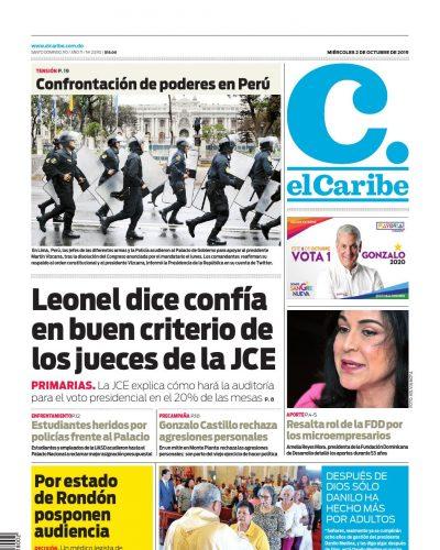 Portada Periódico El Caribe, Miércoles 02 de Octubre, 2019