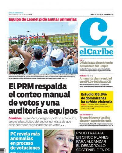 Portada Periódico El Caribe, Miércoles 07 de Octubre, 2019
