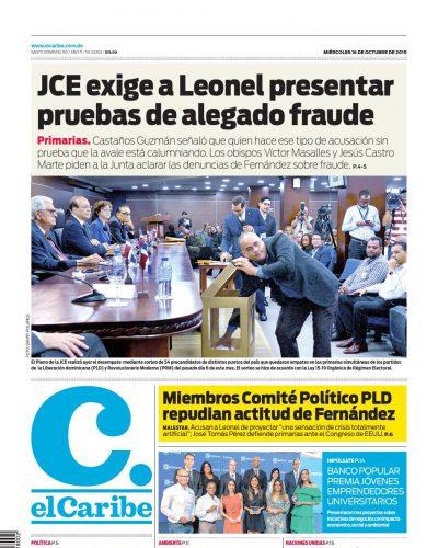 Portada Periódico El Caribe, Miércoles 16 de Octubre, 2019