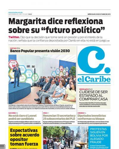 Portada Periódico El Caribe, Miércoles 23 de Octubre, 2019