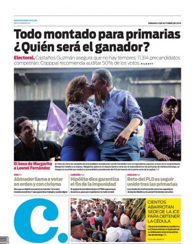 Portada Periódico El Caribe, Sábado 05 de Octubre, 2019