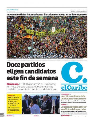 Portada Periódico El Caribe, Sábado 19 de Octubre, 2019