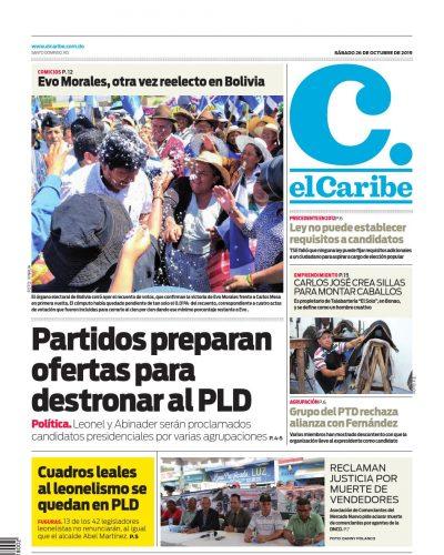 Portada Periódico El Caribe, Sábado 26 de Octubre, 2019