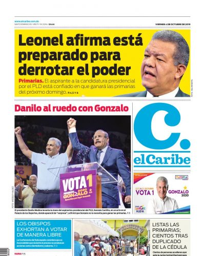 Portada Periódico El Caribe, Viernes 04 de Octubre, 2019