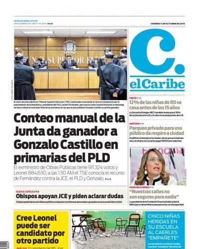 Portada Periódico El Caribe, Viernes 09 de Octubre, 2019