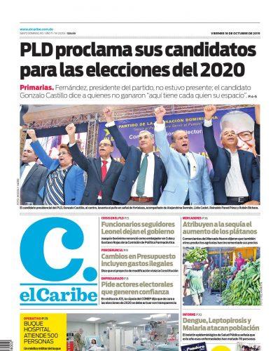 Portada Periódico El Caribe, Viernes 18 de Octubre, 2019