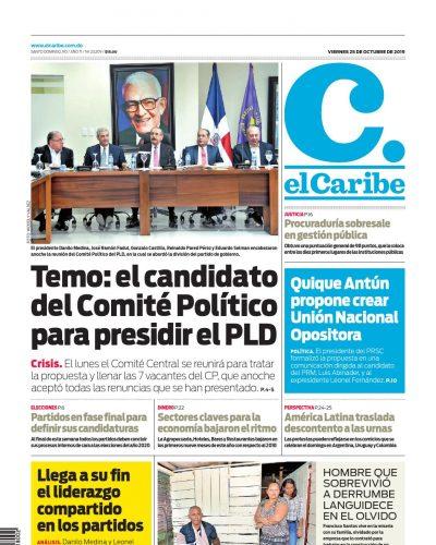 Portada Periódico El Caribe, Viernes 25 de Octubre, 2019