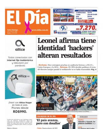 Portada Periódico El Día, Domingo 13 de Octubre, 2019