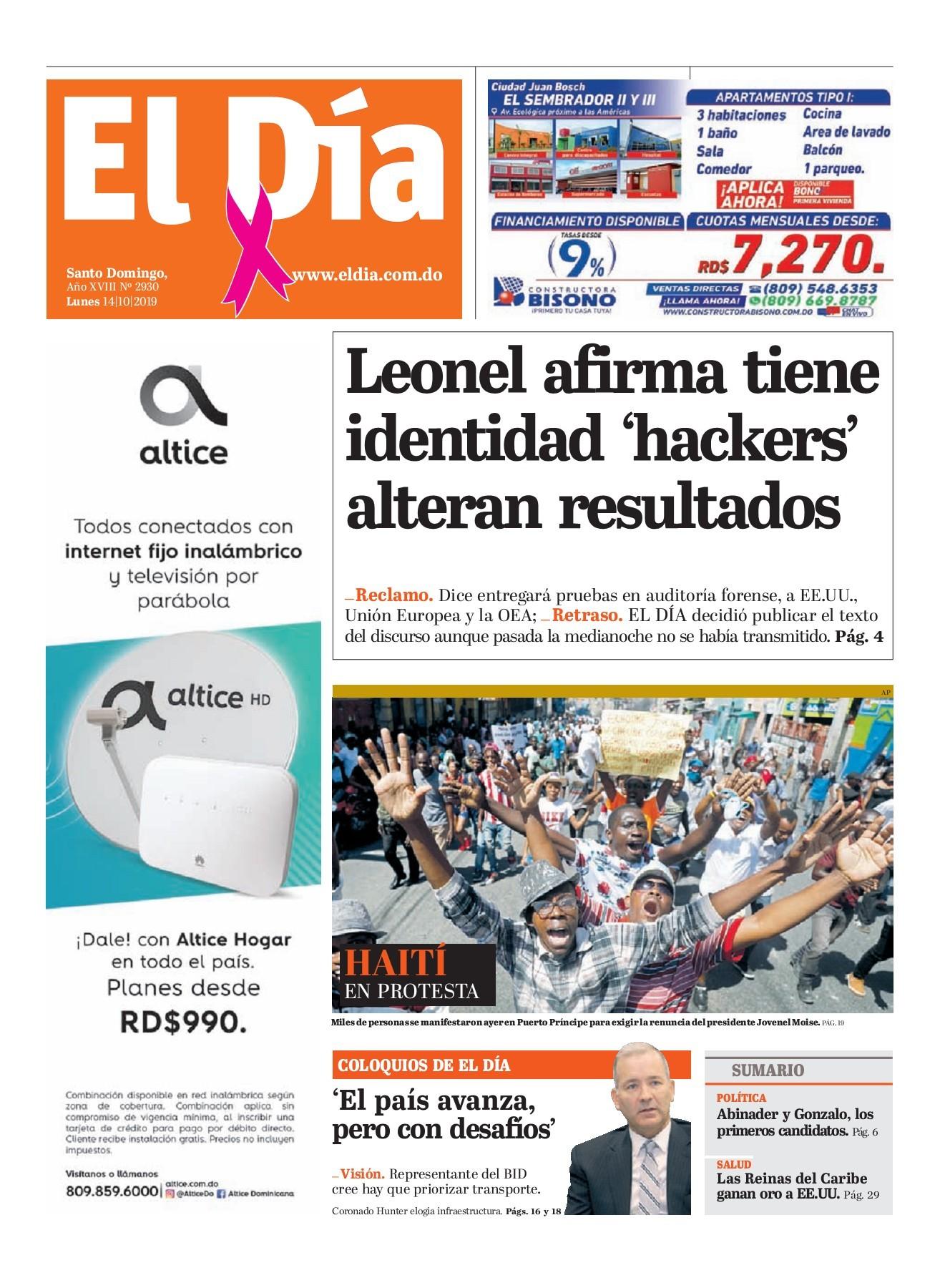 Portada Periódico El Día, Domingo 13 de Octubre, 2019 ...