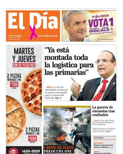 Portada Periódico El Día, Jueves 03 de Octubre, 2019