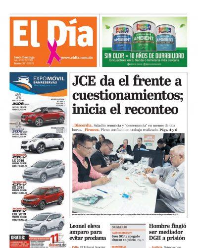 Portada Periódico El Día, Jueves 08 de Octubre, 2019
