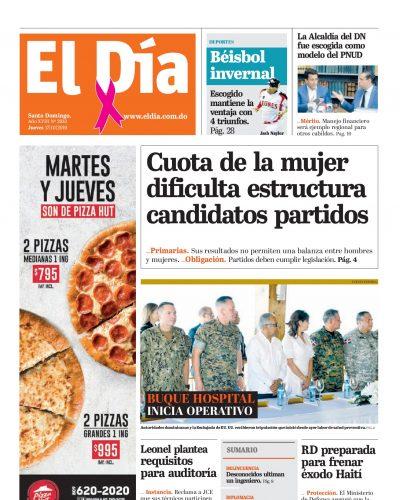 Portada Periódico El Día, Jueves 17 de Octubre, 2019
