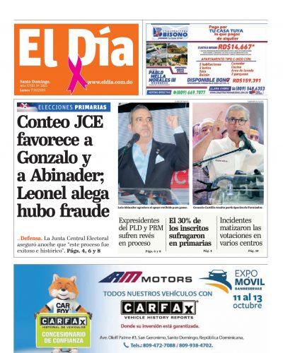 Portada Periódico El Día, Lunes 05 de Octubre, 2019