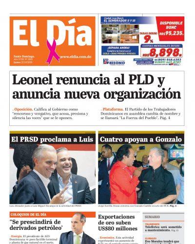 Portada Periódico El Día, Lunes 21 de Octubre, 2019