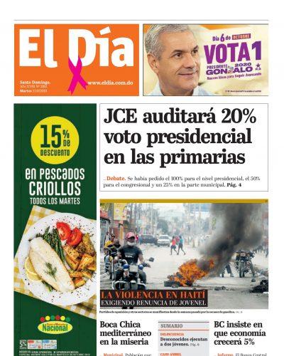 Portada Periódico El Día, Martes 01 de Octubre, 2019