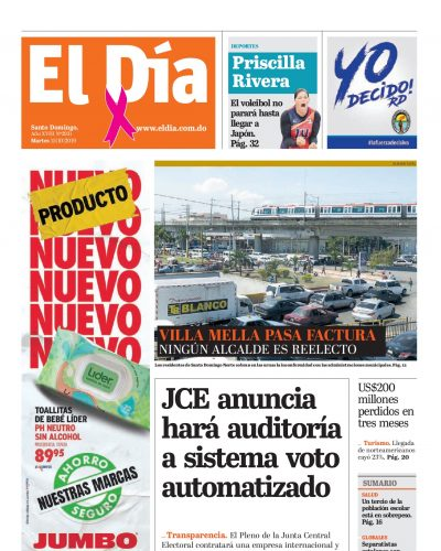 Portada Periódico El Día, Martes 15 de Octubre, 2019