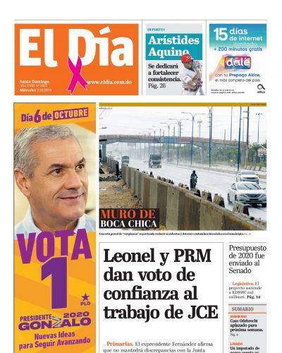 Portada Periódico El Día, Miércoles 02 de Octubre, 2019