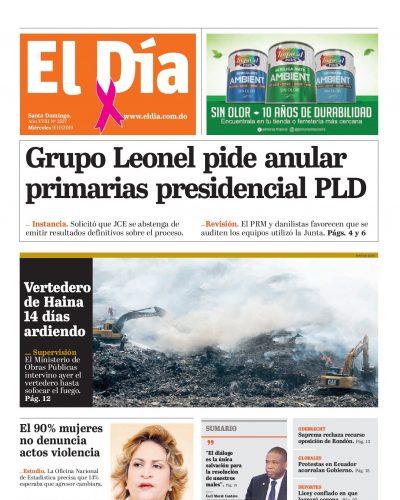 Portada Periódico El Día, Miércoles 07 de Octubre, 2019