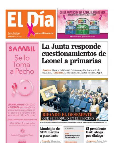 Portada Periódico El Día, Miércoles 16 de Octubre, 2019
