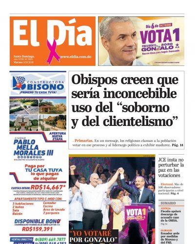 Portada Periódico El Día, Viernes 04 de Octubre, 2019