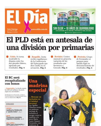 Portada Periódico El Día, Viernes 09 de Octubre, 2019